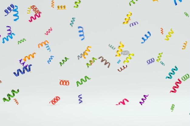 Абстрактная сцена белый фон 3d-рендеринг, конфетти и разноцветные ленты для фестиваля