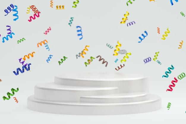 Абстрактная сцена белый фон 3d-рендеринг с белым подиумом, конфетти и разноцветными лентами для фестиваля