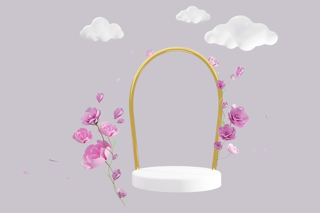 Abstract scene with geometrical levitation podium and pink roses flowers, cartoon clouds over grey background. 3d render, copy space