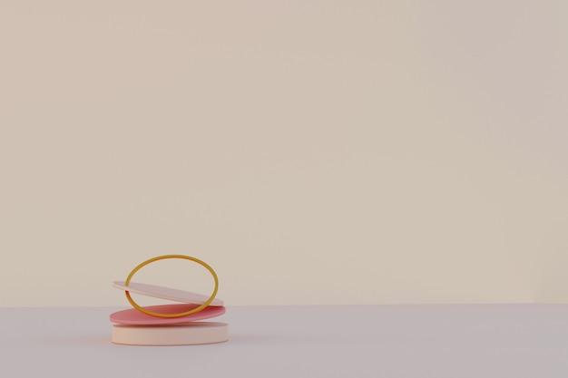 Абстрактная сцена с геометрическими подиумами левитации и золотым кольцом над бежевым столом. абстрактная таблица. сцена для показа любых товаров для рекламы. 3d визуализация