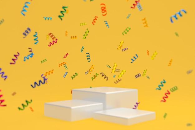 Абстрактная сцена желтый фон 3d-рендеринг с белым подиумом, конфетти и разноцветными лентами для фестиваля