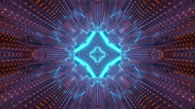 기하학적 모양의 밝은 네온 불빛을 반영하는 금속 패널과 추상 공상 과학 배경 미래의 통로