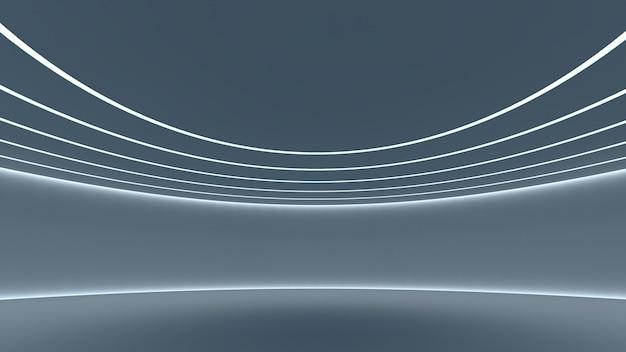Абстрактный научно-фантастический зал будущего округлой формы. синий индиго украшенный светящимися белыми неоновыми лучами концепция пространства в современном космическом фишке. 3d рендеринг