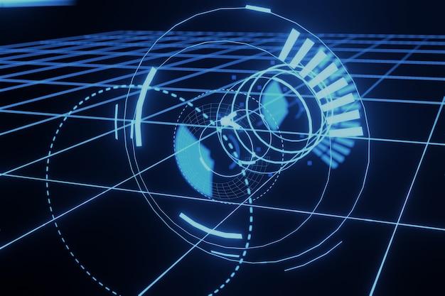 추상 공상 과학 미래 홀로그램 hud gui 3d 배경