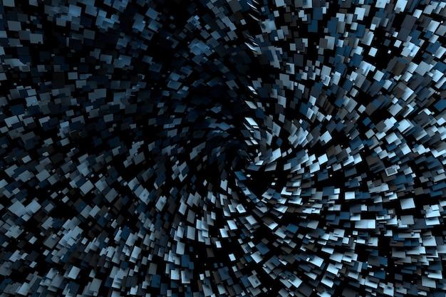 Абстрактная научно-фантастическая сцена с множеством летающих квадратов случайным образом раскрашенных многоугольных фигур