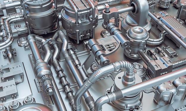 機器と金属配管の抽象的なsfの壁。 3dレンダリング。