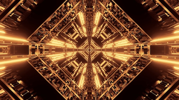 黄金のネオンライトと抽象的なサイエンスフィクションの未来的な背景