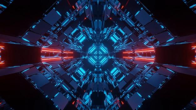 赤と青のネオンライトと抽象的なサイエンスフィクションの未来的な背景