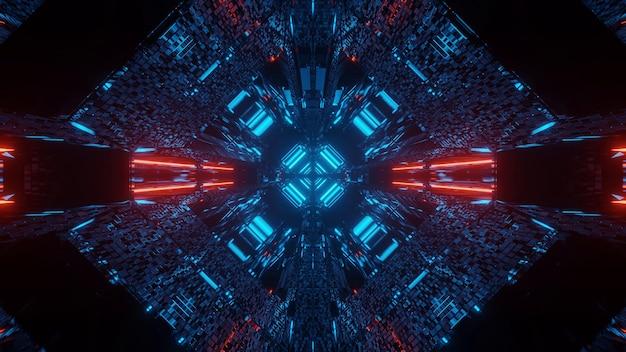 빨간색과 파란색 네온 불빛과 함께 추상 공상 과학 미래의 배경