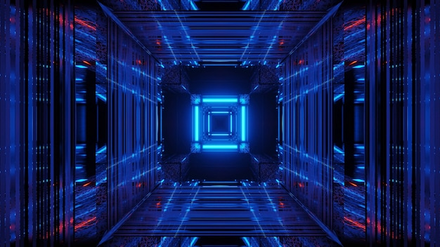Abstract science fiction futuristic space with blue neon lights
