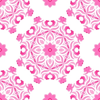 Abstract seamless ornamental watercolor arabesque medallion flower decorative tile pattern