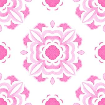 抽象的なシームレスな装飾用水彩ダマスクアラベスクペイントパターン。