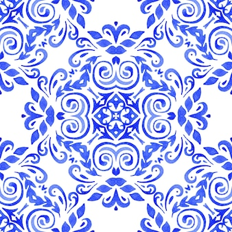 Abstract seamless ornamental watercolor damask arabesque paint pattern.