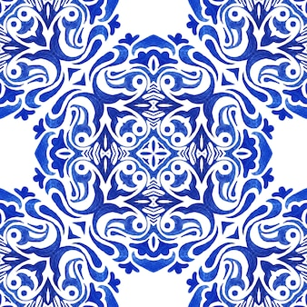 Abstract seamless ornamental watercolor paint pattern for fabric. medallion damask tile