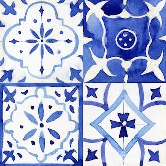 ファブリックの抽象的なシームレスな装飾用水彩ペイントパターン