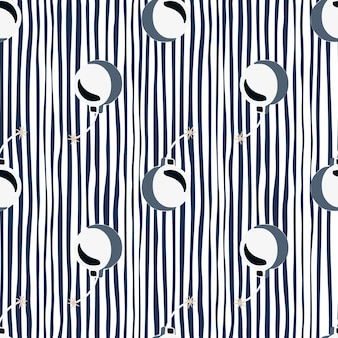 Abstract seamless pattern in cartoon style with simple bomb elements. striped background.