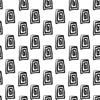 ブラシで作られた手描きの長方形の形で抽象的なシームレスパターン