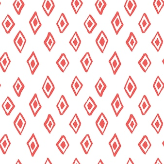ブラシで作られた手描きのひし形の抽象的なシームレスパターン