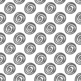 ブラシで作られた手描きの丸いスパイラル形状の抽象的なシームレスパターン
