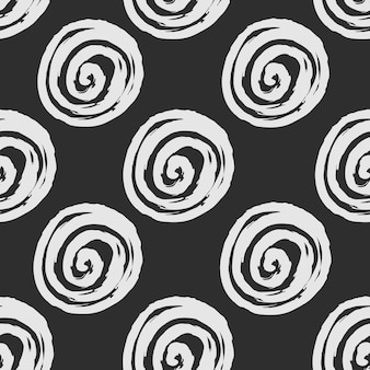 手描きの丸いスパイラル形状の抽象的なシームレスパターン