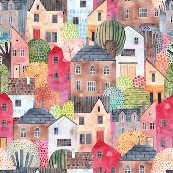 家との抽象的なシームレスパターン。水彩画の背景。生地、テキスタイル、壁紙、幼稚園に最適です。