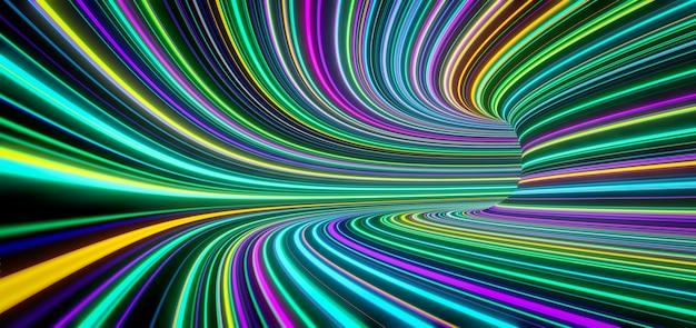 抽象的な自発光色の線がトンネル内を高速で移動します。 3dレンダリング
