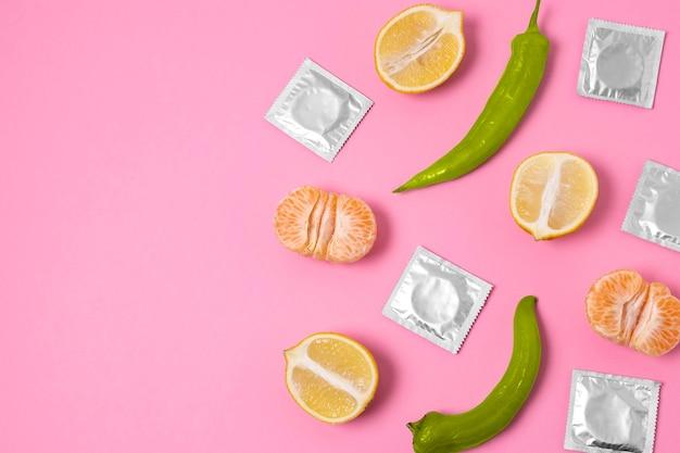 음식으로 추상적인 성 건강 배열