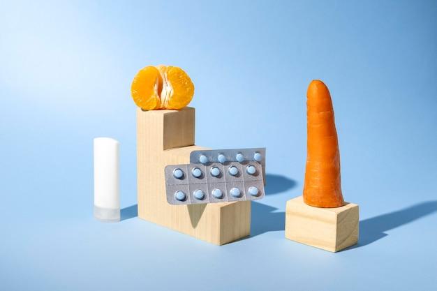 Абстрактный ассортимент сексуального здоровья с едой