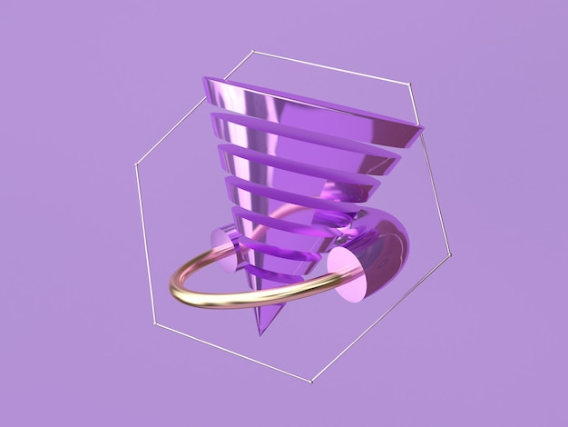 Abstract shape 3d rendering levitation purple background metallic