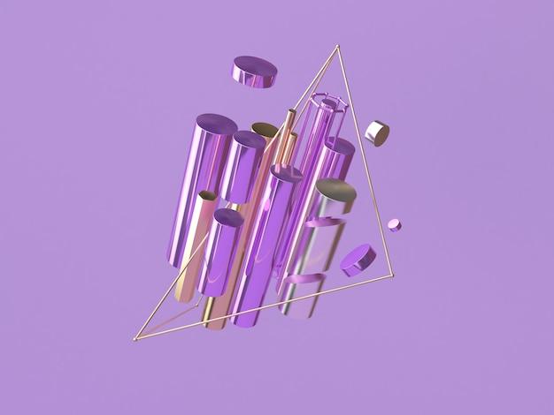 Abstract shape 3d rendering levitation purple scene