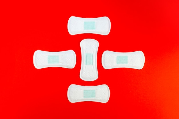 Abstract shape made from sanitary napkins top view