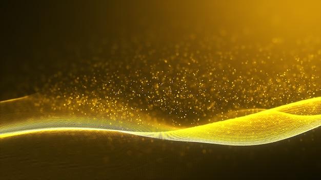 暗闇にキラキラ効果を持つ抽象的な光沢のある色ゴールドウェーブデザイン要素。