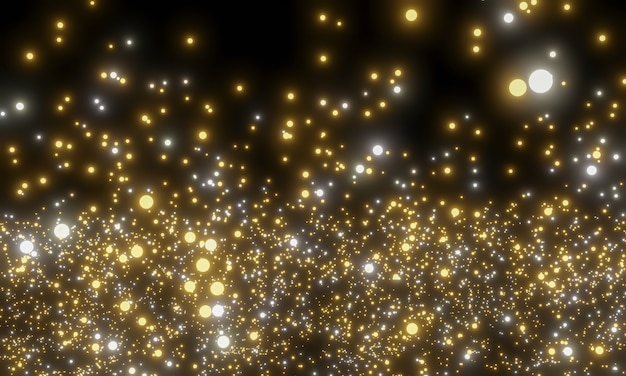 Abstract shiny golden particles