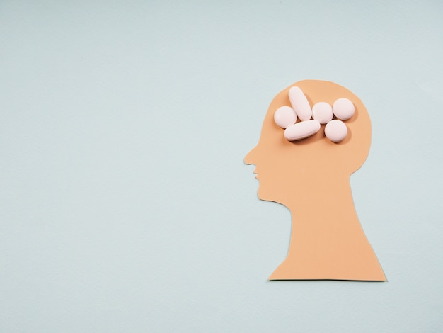 Abstract silhouette head health for medical design. mental health, brain disorder concept. family care.
