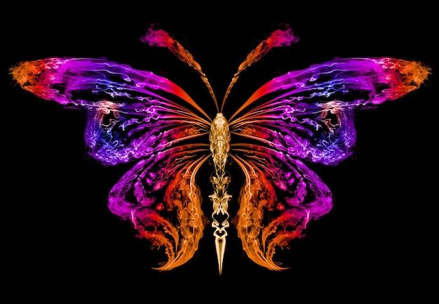 色の煙によって描かれた蝶の抽象的なシルエット