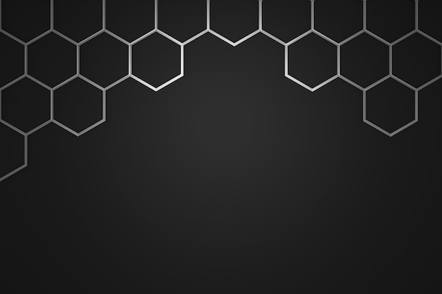 Abstract silver hexagon pattern frame on dark background with futuristic concept.