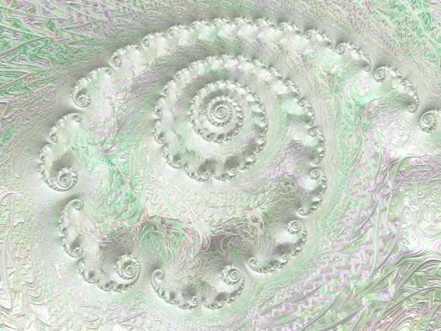 Abstract silver light green textured spiral fractal, 3d render