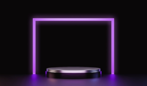 Abstract silver pedestal for showing products with neon lights