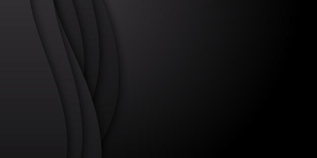 ペーパーカットスタイルの概念を持つ抽象的なシンプルな黒い波の背景