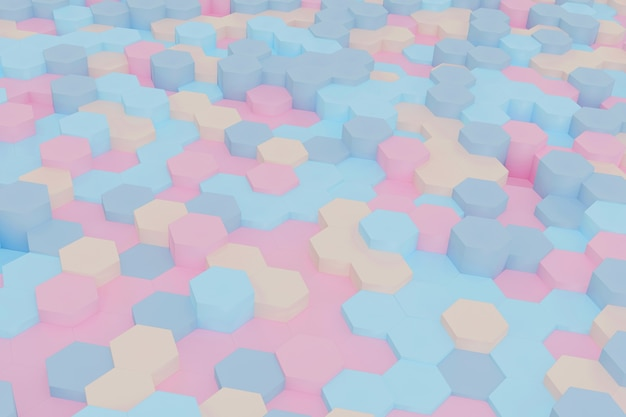 Abstract simple hexagon background 3d rendering.