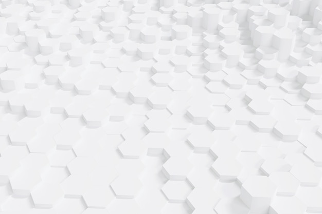 Abstract simple white hexagon background, 3d rendering.