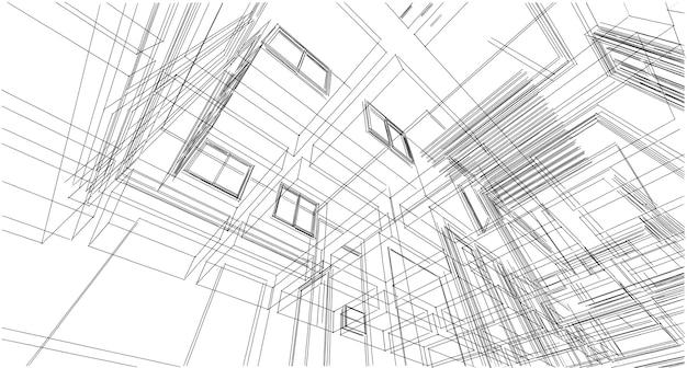 추상 스케치, 건축, 건설, 와이어 프레임