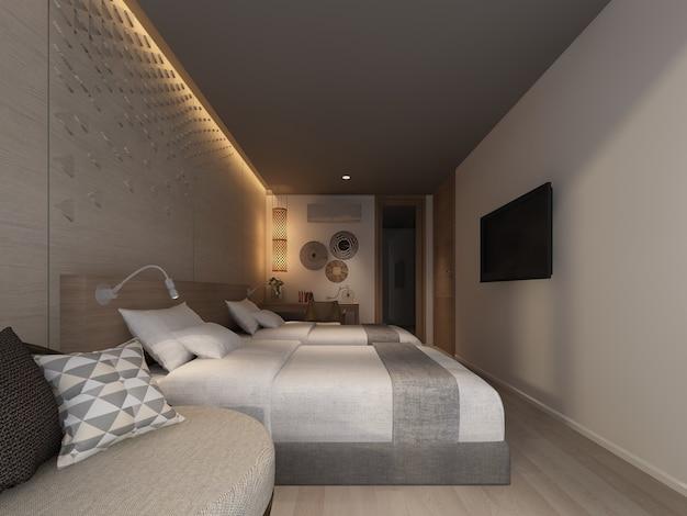 Абстрактный эскиз дизайна интерьера спальни, 3d-рендеринг