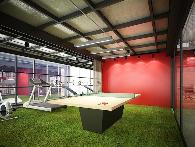 실내 피트니스 룸, 3d 렌더링의 추상 스케치 디자인