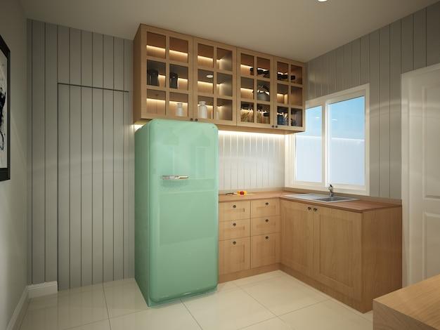 Абстрактный эскиз дизайна интерьера кухни, 3d-рендеринг