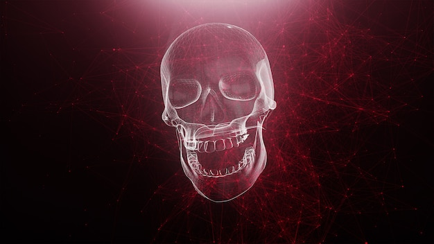 Abstract skull with red plexus