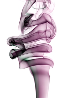 Abstract smoke shapes over a white background