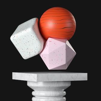 黒の背景の大理石の台座、ステージ、表彰台または列の上の抽象的なソフトボディカラフルなオブジェクト。 3dレンダリング