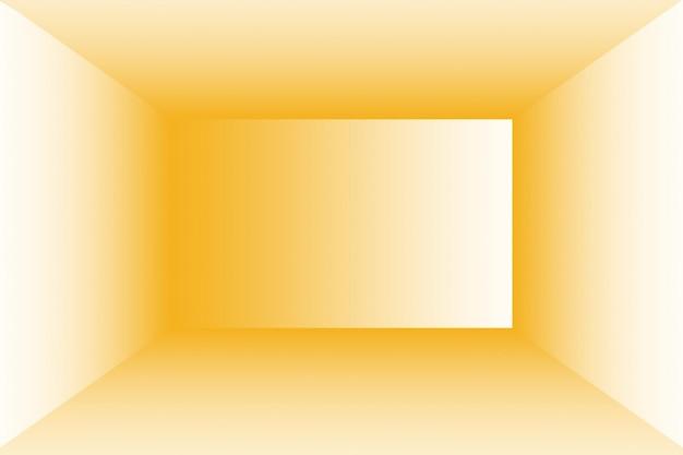 Абстрактное твердое тело сияющего желтого градиентного фона комнаты стены студии.
