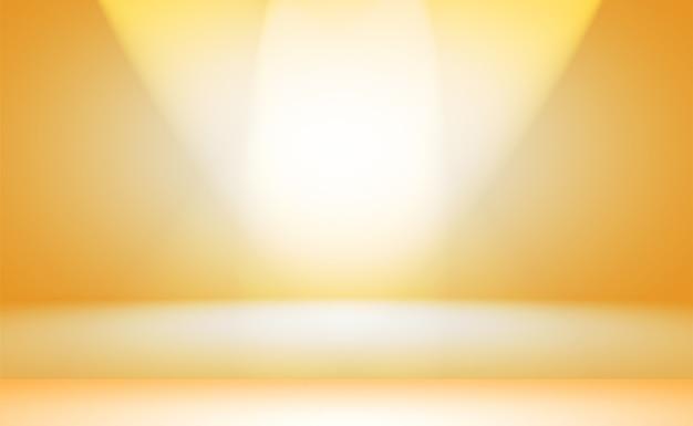 輝く黄色のグラデーションスタジオの壁の部屋の背景の抽象的な固体。